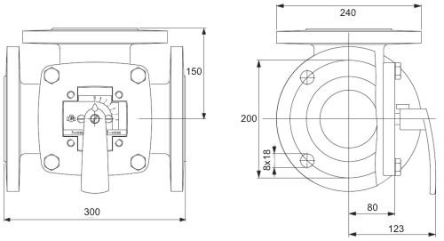 Габаритные размеры клапана Esbe 3F 125
