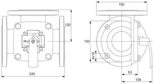 Габаритные размеры клапана Esbe 3F 80