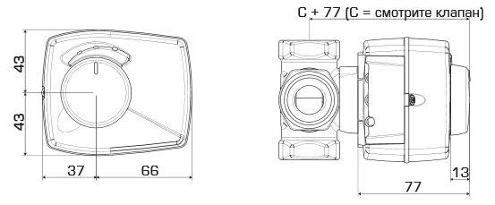 Габаритные размеры привода ESBE ARA659