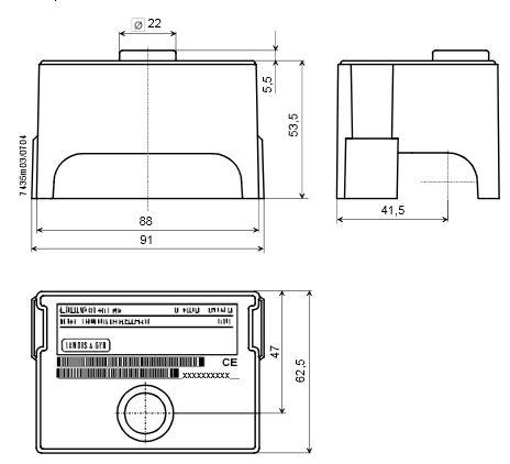 Габаритные размеры автомата горения Siemens LGB22.330A27