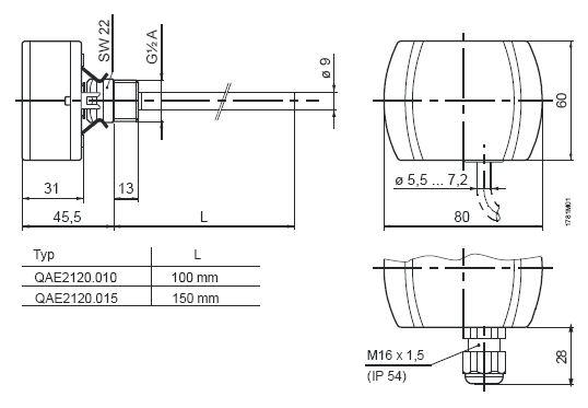 Датчик температуры Siemens QAE2120